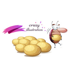 Funny cute crazy colorado beetle potato vector