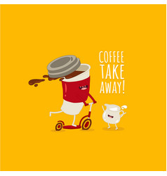 funny image cup coffee on scooter take away vector image