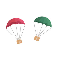 gift boxes flying with parachutes vector image