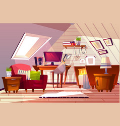 Girl room at garret attic vector