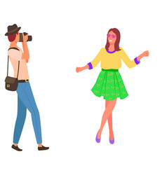 Girl with flower photographer with photo camera vector
