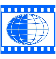Globe in film frame vector image