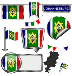Glossy icons with flag of johannesburg south vector