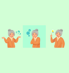 grandmother thinking confused older female vector image