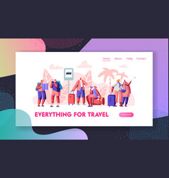 group senior tourists stand on bus station vector image