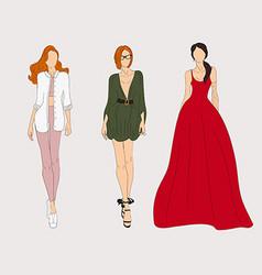 Hand drawn fashion models Sketch vector image