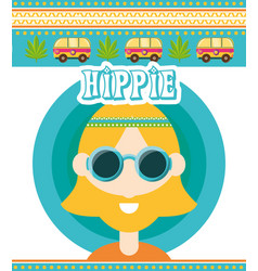 Hippie man concept peace and love vector