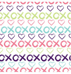 hugs and kisses seamless pattern background vector image