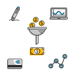 icons set with financial symbolic vector image