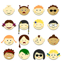 Kids face set emoji portraits vector