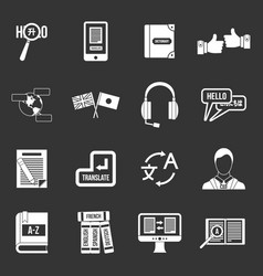 Learning foreign languages icons set grey vector