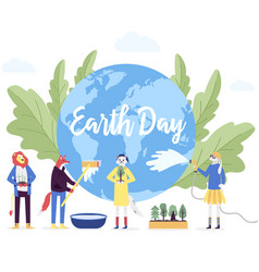 little character prepare for the day of the earth vector image