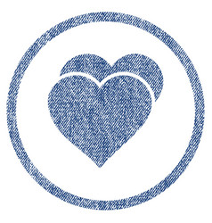Love hearts rounded fabric textured icon vector