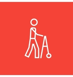 Man with walker line icon vector