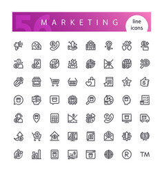 marketing line icons set vector image