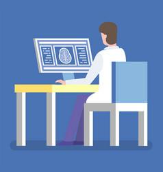 medical worker examining brain xray on computer vector image