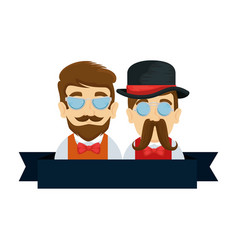 Men couple hipster with mustache and glasses vector