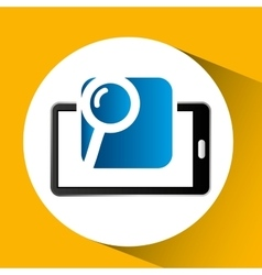 mobile phone icon searching social media vector image