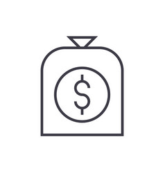money bag line icon sign on vector image vector image