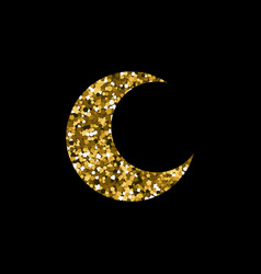 moon icon on black background vector image