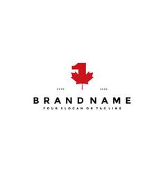 Number one maple logo design vector