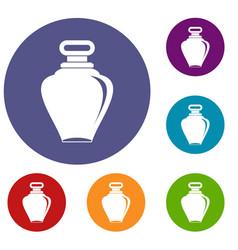 Parfume bottle icons set vector