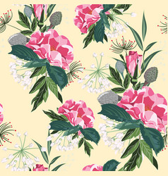 pattern with garden roses in vintage style vector image