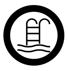 pool icon black color in circle vector image