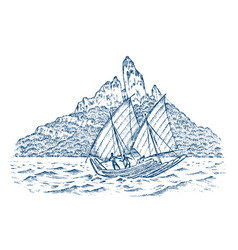 sailboat in sea on a background mountains vector image