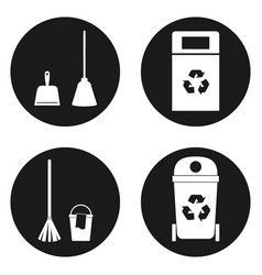 Sanitation or cleaning icons set in circle button vector