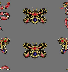 seamless pattern with patches with sequins vector image