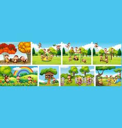 Set monkey in playground background vector