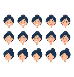 set of different emotions on cute female face vector image