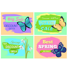set of spring sale advertisements with discounts vector image