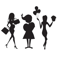 set of three girls silhouettes at birthday party vector image