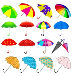set of umbrellas from the rain vector image vector image
