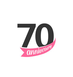Seventieth anniversary logo number 70 vector