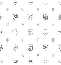 shield icons pattern seamless white background vector image