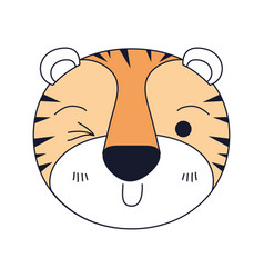 Silhouette color sections of cute face of tiger vector