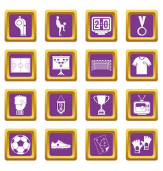 Soccer football icons set purple vector