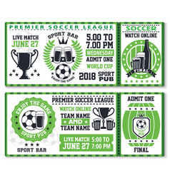 Soccer or football sport game ticket template vector