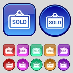 Sold icon sign A set of twelve vintage buttons for vector