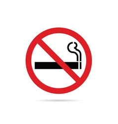 Stop smoking red sign on white background vector