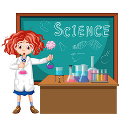 student in science classroom working with tools vector image