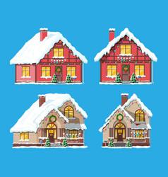 Suburban house covered snow vector
