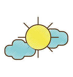 Sun with clouds to natural weather vector