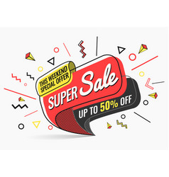 super sale banner template in flat trendy vector image