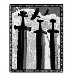 Sverd i fjell - swords in rock symbol vector