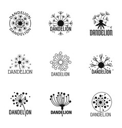 taraxacum icons set simple style vector image