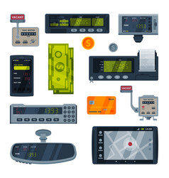 taximeter devices set taxi service calculating vector image
